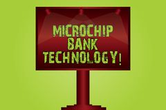 Text sign showing Microchip Bank Technology. Conceptual photo Binary transactions of bank fund and savings Blank Lamp Lighted royalty free illustration