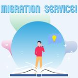 Text sign showing Migration Service. Conceptual photo shift different cloud vendors without implementation Man Standing royalty free illustration