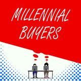 Text sign showing Millennial Buyers. Conceptual photo Type of consumers that are interested in trending products Two men. Text sign showing Millennial Buyers royalty free illustration