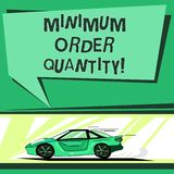 Text sign showing Minimum Order Quantity. Conceptual photo lowest quantity of a product a supplier can sell Car with. Fast Movement icon and Exhaust Smoke Blank stock illustration