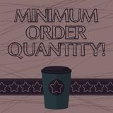 Text sign showing Minimum Order Quantity. Conceptual photo lowest quantity of a product a supplier can sell 3D Coffee To. Go Cup with Lid Cover and Stars on vector illustration
