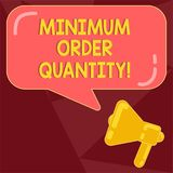 Text sign showing Minimum Order Quantity. Conceptual photo lowest quantity of a product a supplier can sell Megaphone photo and. Blank Rectangular Color Speech stock illustration