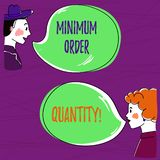 Text sign showing Minimum Order Quantity. Conceptual photo lowest quantity of a product a supplier can sell Hand Drawn. Man and Wo analysis Talking photo with royalty free illustration