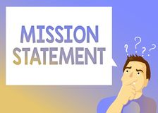 Text sign showing Mission Statement. Conceptual photo Formal summary of the aims and values of a company
