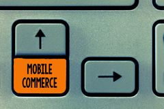 Text sign showing Mobile Commerce. Conceptual photo Using mobile phone to conduct commercial transactions online.  royalty free stock image