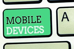 Text sign showing Mobile Devices. Conceptual photo A portable computing device like smartphone tablet computer stock image