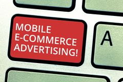 Text sign showing Mobile E Commerce Advertising. Conceptual photo use of mobile devices in marketing brand Keyboard key. Intention to create computer message stock photography