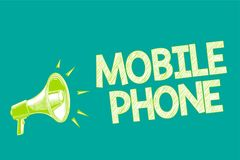 Text sign showing Mobile Phone. Conceptual photo A handheld device used to send receive calls and messages Megaphone loudspeaker g. Reen background important Royalty Free Illustration