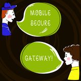 Text sign showing Mobile Secure Gateway. Conceptual photo Securing devices from phishing or malicious attack Hand Drawn Man and Wo
