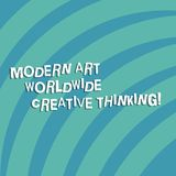 Text sign showing Modern Art Worldwide Creative Thinking. Conceptual photo Creativity artistic expressions Quarter Circle Halftone. Blank Space for Poster stock illustration