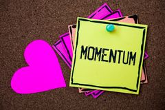 Text sign showing Momentum. Conceptual photo Quantity motion in moving body Product of mass and velocity Multi colour small sticky. Boarder notice board thumb royalty free stock images