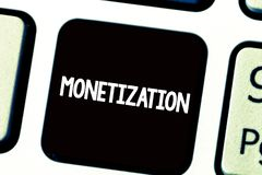 Text sign showing Monetization. Conceptual photo Process of converting establishing something into legal tender.  royalty free stock photos