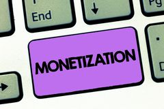 Text sign showing Monetization. Conceptual photo Process of converting establishing something into legal tender.  royalty free stock photography
