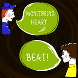 Text sign showing Monitoring Heart Beat. Conceptual photo Measure or record the heart rate in real time Hand Drawn Man and Wo. Analysis Talking photo with Blank vector illustration