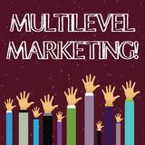 Text sign showing Multilevel Marketing. Conceptual photo marketing strategy for the sale of products or services Hands royalty free illustration