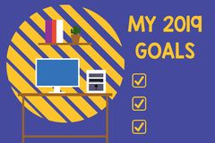 Text sign showing My 2019 Goals. Conceptual photo setting up demonstratingal goals or plans for the current year Desktop stock illustration