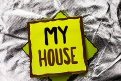 Text sign showing My House. Conceptual photo Housing Home Residential Property Family Household New Estate written on Stacked Stic. Text sign showing My House Royalty Free Stock Image
