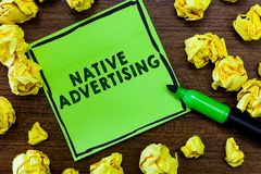 Text sign showing Native Advertising. Conceptual photo Online Paid Ads Match the Form Function of Webpage.  stock photography