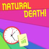 Text sign showing Natural Death. Conceptual photo occurring in the course of nature and from natural causes Layout Wall. Text sign showing Natural Death stock illustration