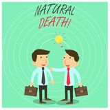 Text sign showing Natural Death. Conceptual photo occurring in the course of nature and from natural causes Two White. Text sign showing Natural Death. Business vector illustration