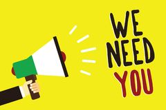 Text sign showing We Need You. Conceptual photo Employee Help Need Workers Recruitment Headhunting Employment Man holding megaphon. E loudspeaker yellow stock illustration