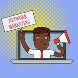 Text sign showing Network Marketing. Conceptual photo Pyramid Selling Multi level of trading goods and services Man. Text sign showing Network Marketing vector illustration