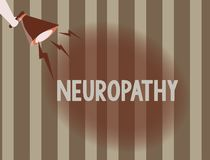 Text sign showing Neuropathy. Conceptual photo Malfunctions of the nerves Loss of sense in the hands and feet royalty free illustration