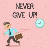 Text sign showing Never Give Up. Conceptual photo Keep trying until you succeed follow your dreams goals. Text sign showing Never Give Up. Conceptual photo Keep vector illustration