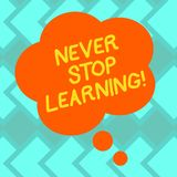 Text sign showing Never Stop Learning. Conceptual photo Keep educating yourself Improve Skills Blank Color Floral Shape Thought royalty free illustration