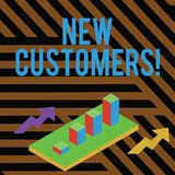Text sign showing New Customers. Conceptual photo an entity that has not previously purchased one s is goods Colorful. Text sign showing New Customers. Business stock illustration