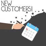 Text sign showing New Customers. Conceptual photo an entity that has not previously purchased one s is goods Male Hand. Text sign showing New Customers. Business vector illustration