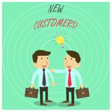 Text sign showing New Customers. Conceptual photo an entity that has not previously purchased one s is goods Two White. Text sign showing New Customers. Business vector illustration