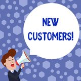 Text sign showing New Customers. Conceptual photo an entity that has not previously purchased one s is goods Young Man. Text sign showing New Customers. Business royalty free illustration