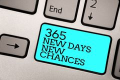 Text sign showing 365 New Days New Chances. Conceptual photo Starting another year Calendar Opportunities Silver grey computer key. Board with blue button black stock image