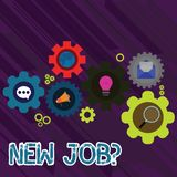 Text sign showing New Job Question. Conceptual photo formal meeting which someone asked find out if they are suitable. Text sign showing New Job Question royalty free illustration