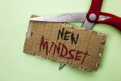 Text sign showing New Mindset. Conceptual photo Attitude Latest Concept Vision Behaviour Plan Thinking written on Tear Cardboard o. Text sign showing New Mindset Royalty Free Stock Photo
