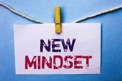 Text sign showing New Mindset. Conceptual photo Attitude Latest Concept Vision Behaviour Plan Thinking written on White Note Paper. Text sign showing New Mindset Royalty Free Stock Photo