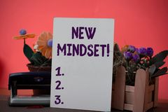 Text sign showing New Mindset. Conceptual photo mental attitude of demonstratings responses to certain situations. Text sign showing New Mindset. Business photo royalty free stock images