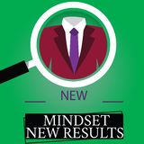 Text sign showing New Mindset New Results. Conceptual photo Open to Opportunities No Limits Think Bigger Magnifying. Glass photo Enlarging Inspecting a Tuxedo stock illustration
