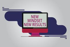 Text sign showing New Mindset New Results. Conceptual photo Open to Opportunities No Limits Think Bigger Mounted. Computer Monitor Blank Reflected Screen on vector illustration