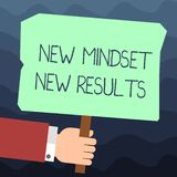 Text sign showing New Mindset New Results. Conceptual photo Open to Opportunities No Limits Think Bigger Hu analysis. Hand Holding Blank Colored Placard with royalty free illustration