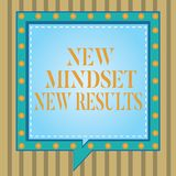 Text sign showing New Mindset New Results. Conceptual photo Open to Opportunities No Limits Think Bigger Square Speech. Bubbles Inside Another with Broken Lines royalty free illustration