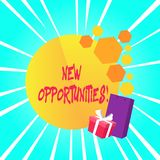 Text sign showing New Opportunities. Conceptual photo situation that makes it possible to do something. Text sign showing New Opportunities. Business photo royalty free illustration
