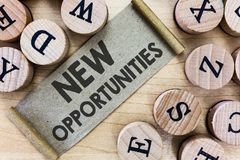 Text sign showing New Opportunities. Conceptual photo A situation that makes it possible to do something.  royalty free stock photos