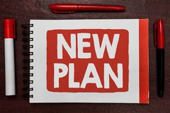 Text sign showing New Plan. Conceptual photo Start of a detailed proposal of doing or achieving something Important ideas highligh. Ted notebook markers wooden Royalty Free Stock Image