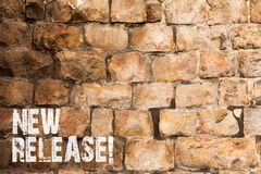 Text sign showing New Release. Conceptual photo announcing something newsworthy recent product Brick Wall art like. Text sign showing New Release. Business photo royalty free stock image