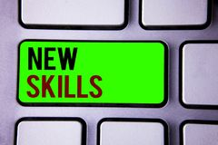 Text sign showing New Skills. Conceptual photos Recently Acquired Learned Abilities Knowledge Competences. Stock Photos