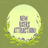 Text sign showing New Users Attraction. Conceptual photo Something that makes showing want for a particular thing Blank. Color Oval Shape with Leaves and Buds royalty free illustration