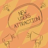 Text sign showing New Users Attraction. Conceptual photo Something that makes showing want for a particular thing Freehand Outline. Sketch of Blank Speech royalty free illustration