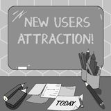 Text sign showing New Users Attraction. Conceptual photo Something that makes showing want for a particular thing. Mounted Blank Color Blackboard with Chalk and stock illustration